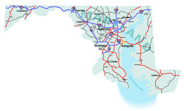 Maryland State Interstate Map Royalty Free Stock Image