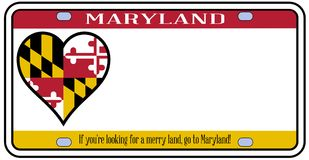 Maryland License Plate. Maryland state license plate in the colors of the state flag with the flag icons over a white background Royalty Free Stock Photos