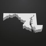 Maryland State map in gray on a black background 3d Royalty Free Stock Photos