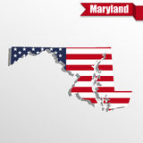 Maryland State map with US flag inside and ribbon Stock Photos