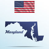 Maryland state with shadow with USA waving flag Stock Image