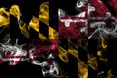 Maryland state smoke flag, United States Of America. On a black background stock photography