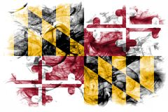 Maryland state smoke flag, United States Of America. On a white background royalty free stock images