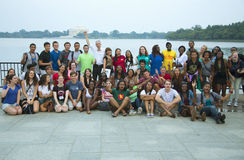 Maryland students pose in front of Tidal Basin Stock Photos