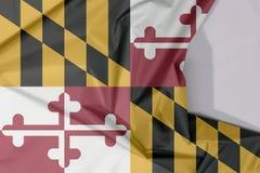 Maryland tkaniny flaga krepa i zagniecenie z biel przestrzenią stany Ameryka obraz royalty free