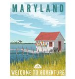 Maryland travel poster. Fishing shack with crab traps and buoys. Maryland, United States travel poster or sticker. Retro style vector illustration of fishing Royalty Free Stock Photo