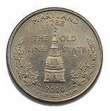 Maryland US quarter dollar. Maryland United States collection quarter dollar Royalty Free Stock Image