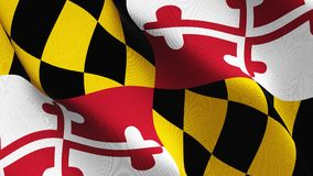 Maryland US State flag waving on wind. United States of America Maryland background fullscreen flag blowing on wind. Realistic fabric texture on windy day Royalty Free Stock Images