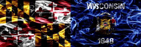 Maryland vs Wisconsin colorful concept smoke flags placed side by side.  stock image