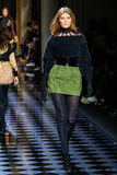 Maryna Linchuk walks the runway during the Balmain show Stock Images