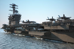 Marynarka wojenna lotniskowiec z przedziałem samolot i załoga zdjęcie stock
