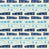 Marynarki wojennej błękit Krzyżuje Abstrakcjonistycznego Bezszwowego wektoru wzór royalty ilustracja