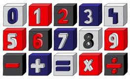 Marynarki wojennej błękita liczby od (0) 9 z matematycznie operacjami na blokach Zdjęcia Royalty Free