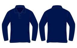 Marynarki wojennej błękita polo koszula Długi rękaw Vecor dla szablonu ilustracja wektor
