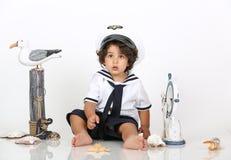 Marynarki wojennej plażowa chłopiec Fotografia Royalty Free