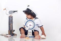 Marynarki wojennej plażowa chłopiec Zdjęcia Royalty Free