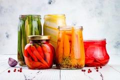 Marynowana zalewy rozmaitość konserwuje słoje Domowej roboty fasolki szparagowe, kabaczek, rzodkiew, marchewki, czerwonego chili  Zdjęcia Royalty Free