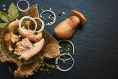 Marynowane białe pieczarki, porcini z pikantność, czosnek i cebula, zdjęcie stock