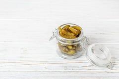 Marynowane gurdy Pojęcie jest zdrowym jedzeniem, wegetarianizm Obraz Royalty Free