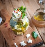 Marynowany feta ser w oliwa z oliwek, ziele i czerwonego pieprzu płatkach na drewnianym tle, obraz royalty free