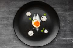 Marynowany jajko dla ramen lub nitamago, odgórny widok fotografia royalty free