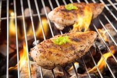 Marynowany piec na grillu kurczak na płomiennym grillu obrazy stock
