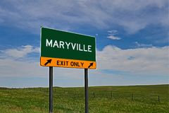 US Highway Exit Sign for Maryville. Maryville `EXIT ONLY` US Highway / Interstate / Motorway Sign stock image