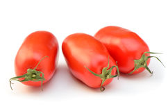 Marzano tomatoes. Whole fresh Marzano tomatoes for making pasta sauce on white background Royalty Free Stock Image