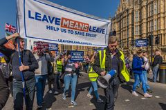 Marzec dla brexit zwolenników na 29 Marzec 2019 zdjęcia stock