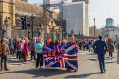 Marzec dla brexit zwolenników na 29 Marzec 2019 zdjęcie royalty free