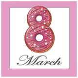 Marzec 8 donuts różowi kartę Zdjęcia Royalty Free