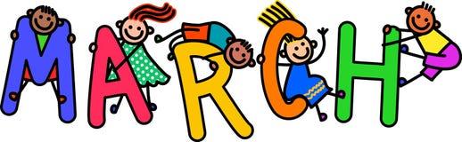 Marzec dzieciaki ilustracji