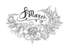 8 Marzec Gratulacje karta z peonia kwiatami Obrazy Royalty Free