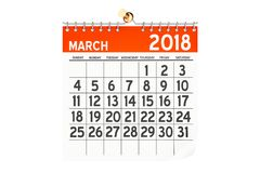Marzec 2018 kalendarz, 3D rendering Zdjęcie Stock