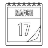 Marzec 17 kalendarzowa ikona, konturu styl Ilustracji
