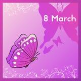 Marzec 8 Kartka z pozdrowieniami purpur brzmienia z motylem E karta dekorująca z liśćmi ilustracja wektor