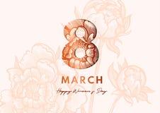 8 Marzec Kobiety ` s dnia kartka z pozdrowieniami papieru cięcia styl Wielki złoty projekt dla gazetki, broszurki, pocztówki, bil royalty ilustracja