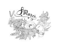 8 Marzec Kobiety ` s dzień Karta z kwiatami Obrazy Stock