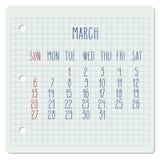 Marzec 2016 miesięcznika kalendarz Zdjęcie Royalty Free