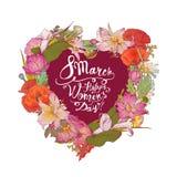 8 Marzec Szczęśliwy kobiety ` s dzień! Kwiecisty serce Obrazy Royalty Free