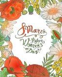 8 Marzec Szczęśliwy kobiety ` s dzień! Wektorowa kwiecista rama Obrazy Stock