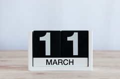 Marzec 11th Dzień 11 miesiąc, codzienny kalendarz na drewnianym stołowym tle Wiosna dzień, opróżnia przestrzeń dla teksta Fotografia Royalty Free