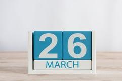 Marzec 26th Dzień 26 miesiąc, dzienny kalendarz na drewnianym stołowym tle Wiosna czas, opróżnia przestrzeń dla teksta Zdjęcia Stock