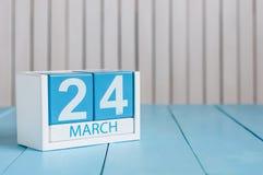 Marzec 24th Wizerunek marszu 24 koloru drewniany kalendarz na białym tle Wiosna dzień, opróżnia przestrzeń dla teksta ilustracja wektor