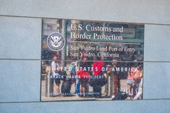 MARZEC 18, 2019 Usa granica Meksyk przy San Ysidro Kalifornia, KALIFORNIA -, usa - zdjęcie stock