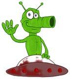 Marziano divertente in UFO fotografia stock libera da diritti