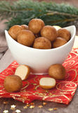 Marzipan balls in a bowl Royalty Free Stock Photography