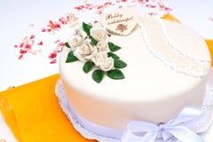 Marzipan birthday cake. With white rose Stock Image