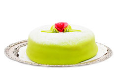 Marzipan birthday cake isolated on white. Green princess marzipan birthday cake with a marzipan rose isolated on white Stock Photography