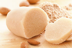 Marzipan bread. With almonds closeup Stock Image